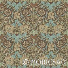 Morris & Co Tapet Honeysuckle & Tulip Taupe/Aqua