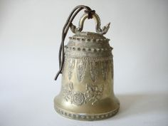 Fine Old Chinese Bronze or Brass Bell Dragons carving Sculpture Scholar Art