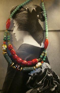 collier GEISHA jade et corail     OOAK par byfabie sur Etsy
