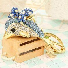 Rhinestone Dolphin Key Chain Miss Girl, 3 Stone Diamond Ring, Personalized Jewelry, Asian Fashion, Blue Gold, Dolphins, Key Chains, Stationery, Stuff To Buy