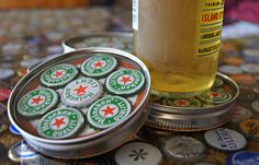 Bottle Cap Coasters - not a tutorial but I like the idea. Use canning jar lids, bottle caps and resin.