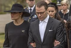A tearful Crown Princess Victoria, joined by husband Prince Daniel, led mourners at the funeral of her uncle, Niclas Silfverschiold in Sollebrunn, Sweden today