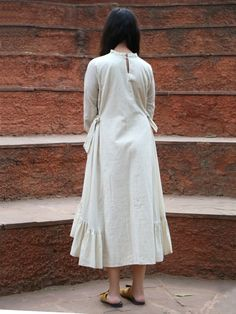 925a1bee00 Buy Ivory Embroidered Linen Silk Tie -Up High Low Dress online at Theloom  Tie Up