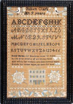 Julian Clark antique needlework sampler c. 1815 from Huber