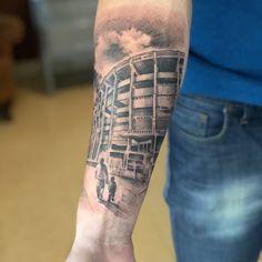 La Bombonera #Tattoo #BocaJuniors Watercolor Tattoo, Buddha Decor, Pizza, Santa, Logo, Ideas, Football Tattoo, Tatoo, Animals