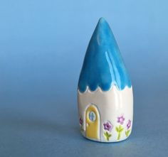 flower Gnome Home Collectible Ceramic by thelittlereddoor on Etsy