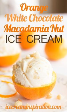 Orange White Chocolate Macadamia Nut Ice Cream by Ice Cream Inspiration. Take the wonderful flavors of macadamia nuts, oranges, and white chocolate and put them in a creamy base and what do you get? A (Chocolate Orange Ice Cream) Ice Cream Desserts, Ice Cream Flavors, Frozen Desserts, Ice Cream Recipes, Frozen Treats, White Chocolate Ice Cream, White Chocolate Macadamia, Parfait, Ice Cream Maker