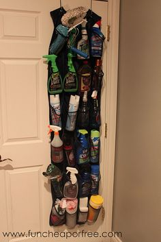 organize cleaning supplies....