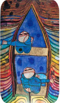 Hundertwasser- in a boat Friedensreich Hundertwasser, Paul Klee, Norman Rockwell, Mondrian, Modern Art, Contemporary Art, Art Ancien, Inspiration Art, Pop Art