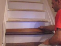 Installing Laminate Flooring on Stairs Laminate flooring can be installed on a flight of stairs, and this process can also be used when installing laminate on a floor and having to drop down a step to a sunken room. Laminate Flooring On Stairs, Installing Laminate Flooring, Wood Flooring, Flooring Ideas, Stair Makeover, Stair Nosing, Basement Stairs, Basement Remodeling, Remodeling Ideas