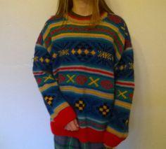 Vintage oversized jumper / sweater, hand knit, multi coloured by BlindDogVintage on Etsy