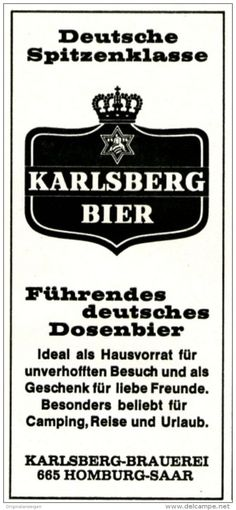 Original-Werbung/ Anzeige 1969 - KARLSBERG BIER / DOESENBIER - HOMBURG / SAAR - ca. 55 x 120 mm