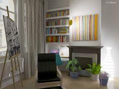 Duplex a Bruxelles - progetto d'arredo e illuminazione. Sospensione OK di Flos, Lapada da tavolo TAB -T di Flos.