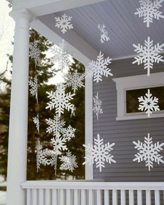 Frosty Banners  Although these oversize snowflake streamers look delicate, they're made from a sturdy material that allows them to withstand wet weather.  How to Make the Frosty Banners