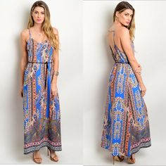 Boho Blue Pink Moroccan Paisley Border Print Flowy V-Neck Maxi Dress W/Belt S-L  #WeekendinVegas #Maxi #SummerBeach