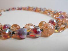 Crown-TRiFARi-Peach-Pink-Art-Glass-Opalescent-Aurora-Givre-Crackle-Bib-Necklace
