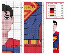 Cross Stitch Bookmarks, Cross Stitches, Stich Disney, Peler Beads, Rug Hooking, Plastic Canvas, Beading Patterns, Blackwork, Superman