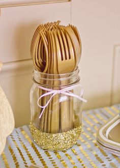 Gold Glittered Mason Glass - what an adorable way to display utensils at a party!
