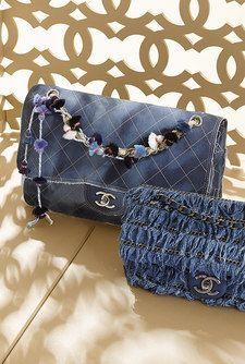 Denim and calfskin flap bag embellished... - CHANEL