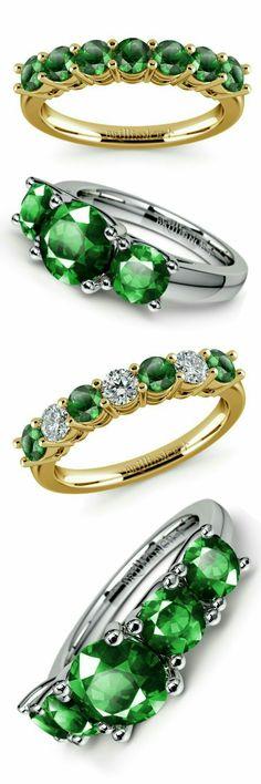 Gemstone Rings, Natural Gems in Vintage & Modern Styles Emerald Gemstone, Gemstone Necklace, Gemstone Rings, Emerald Green, Simple Jewelry, Jewelry Rings, Jewelery, Jewelry Box, Vintage Modern