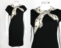 VTG 1960s SYDNEY NORTH BLACK CAP SLEEVE TROMPE L'OEIL BOW COLLAR SHIFT DRESS L #SydneyNorth