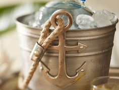 Coastal Style Ideas | Pottery Barn Love the anchor ice bucket!
