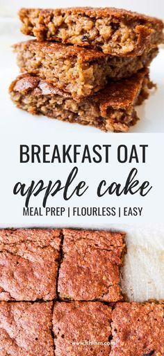 Healthy Oatmeal Breakfast, Vegetarian Breakfast Recipes, Breakfast Cake, Breakfast Dishes, Apple Breakfast, Healthy Snacks Vegetarian, Meal Prep Breakfast, Healthy Baked Snacks, Paleo