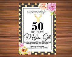 BOHO BDAY INVITATION Bohemian Bday Invitation by UniqueGoldenCards 50th Birthday, Birthday Invitations, Rsvp, Bohemian, Unique Jewelry, Handmade Gifts, Party, Etsy, 50 Year Anniversary
