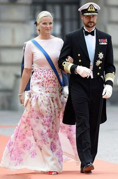 Crown Princess Mette-Marit of Norway and Crown Prince Haakon of Norway attend the royal wedding of Prince Carl Philip of Sweden and Sofia Hellqvist at The Royal Palace on June 13, 2015 in Stockholm, Sweden.