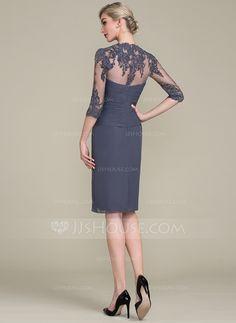 617b47924c Sheath Column Knee-Length Chiffon Mother of the Bride Dress With Ruffle  Beading Appliques