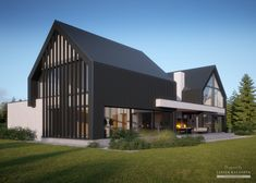 House project: LK & 1488 - ExklusivHAUS: Life at the highest level Farmhouse Architecture, Modern Farmhouse Exterior, Modern Architecture, Modern Barn House, Modern House Design, House Cladding, Villa Design, Building A House, House Ideas