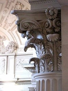Corinthian Order. Two rows of icanthus leaves, small spiral volutes. Detail of leaves carved on underside of volutes. #ancientgreekarchitecture