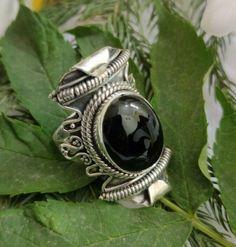 Black Onyx Ring,Antique Ring,Sterling Silver,All Ring Size,Wedding Designer Ring Large Wedding Rings, Wedding Rings Vintage, Gypsy Rings, Boho Rings, Black Onyx Ring, Black Rings, Boho Gypsy, Bridesmaid Rings, Antique Rings