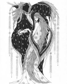 "Marina Mika ""The Heron and the Crane"" pen & ink"
