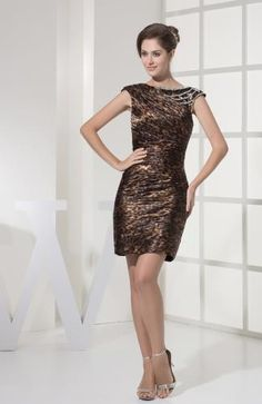 Buy leopard cap sleeves sheath mother of the groom dresses in dresden from classic mother of the bride dresses collection, bateau neckline short in multi color color,cheap mini length dress with zipper back and for prom party cocktail party night club . Elegant Prom Dresses, Prom Party Dresses, Homecoming Dresses, Nice Dresses, Evening Dresses, Girls Dresses, Bridesmaid Dresses, Prom Gowns, Satin Cocktail Dress