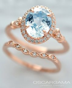 Made to order Natural Blue Aqua Marine center stone with a halo made out of 24 round brilliant diamonds Center stone a VS baby blue Natural Aqua Marine with in weight. The setting is make in pink gold with a gorgeous antique design. Round Halo Engagement Rings, Perfect Engagement Ring, Rose Gold Engagement Ring, Gold Gold, White Gold, Bling Bling, Diamond Cluster Ring, Diamond Rings, Vintage Rings