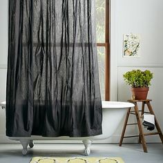 Pintuck Shower Curtain - Slate #westelm #anthropologie #pintowin