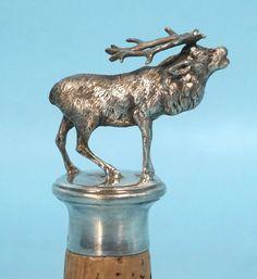 Antique Hanau German Sterling Silver Hunt Bottle Stopper Bugling Stag Elk Figure