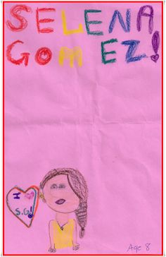 An 9 year old depiction of Selena Gomez, very colorful.