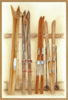 Old Skis II Posters by Laurence David Luge, Ski Posters, Cool Posters, Sports Posters, Ski Vintage, Ski Lodge Decor, Affordable Wall Art, Sports Art, Framed Art Prints