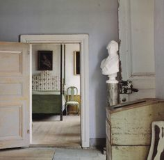 Sublime Gustavian bedroom I love the colour combination of palest blue and green.