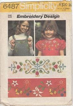 Simplicity 6487 Embroidery Transfer Pattern by OutoftheConex,   Vintage Tole Painting, How-to Bead, Paint and Crochet Books, Craft Supplies, Sewing Patterns, and so much more ♥etsy♥ $4.00