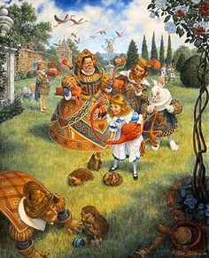 Alice's Illustrated Adventures In Wonderland: Chapter 8 ~ The Queen's Croquet Ground     Scott Gustafson (illustrator)