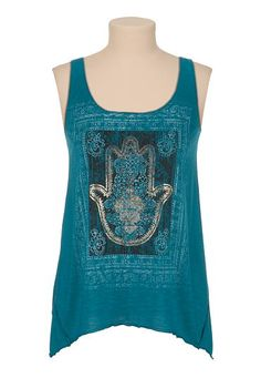 Criss cross back foil hand graphic tank (original price, $26) available at #Maurices