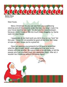 This printable letter from santa is intended for christian families christmas morning letter from santa about family spiritdancerdesigns Images