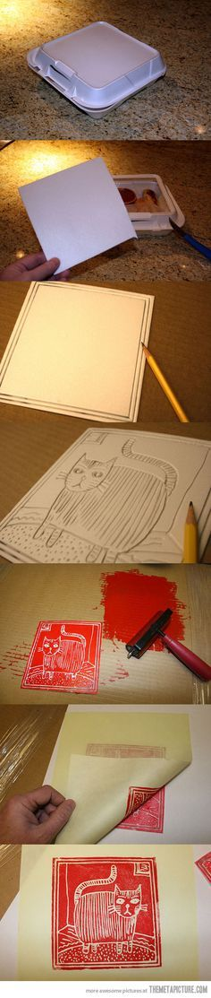 Printmaking for kids - Styrofoam designs.  How to do it. ::::: How neat! Im gonna see if Dad can draw this into styrofoam and let Marley do this for Ophelia's room!