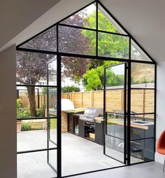 A Crittall installation for an open plan space in South West London. House Extension Design, House Design, Glass Extension, Crittal Doors, Crittall Windows, Norway House, Modern Entrance Door, Open Plan Kitchen Living Room, Bungalow Renovation
