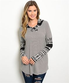 #hoodie #casualtop #tribal | Black and White Tribal Print Women's Boutique Hoodie Top | Cali Boutique | FREE shipping to the U.S.