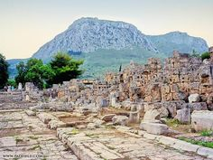 Corinth, Greece. Streets of ancient Corinth and the Acrocorinth we climbed in the background