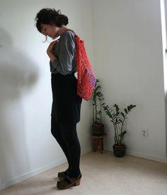 Hand crochet market bag net bag shopping bag in red organic